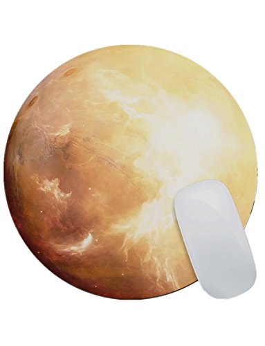 Luna Alfombrilla para Ratón Forma Redonda, DINOWIN (220 mm x 220 mm x 3 mm) almohadilla de ratón, Serie del Planeta Cojín de ratón, hada Regalos-Mars