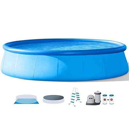Above Ground Pool with Pump 18' Round Swimming Pool Durable Filter Pump Pool Ladder Ground Cloth and Debris Cover Best Above Ground Pool for Kids and Adults Inflatable Blow Up Blue & eBook by NAKSHOP