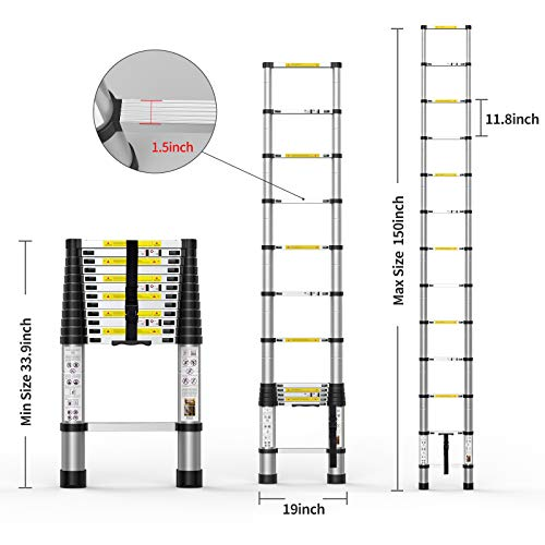 Telescoping Extension Ladder 12.5FT, Aluminum Telescopic Ladders with Carry Bag for Outdoor Indoor Use