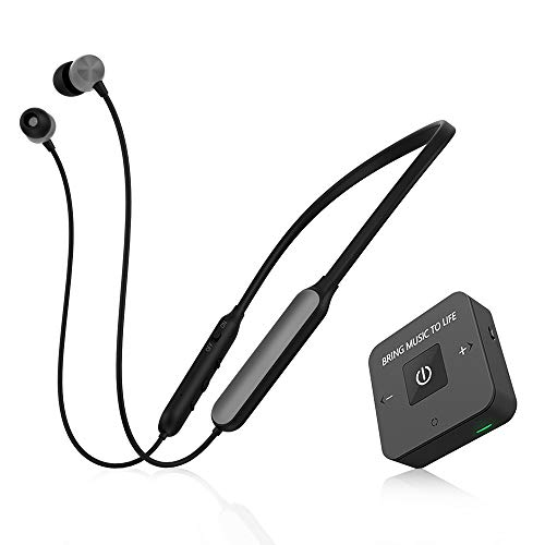 Friencity Wireless Headphones Earbuds for TV Watching w/Bluetooth Transmitter, Neckband TV Headset Earphones Hearing Set for Seniors, Support Digital Optical RCA 3.5mm Aux, Plug& Play, No Audio Delay