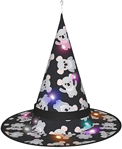 KINGAM Divertido sombrero de bruja Koala en negro con luz, para Halloween, fiesta de disfraces, disfraz de cosplay y uso diario