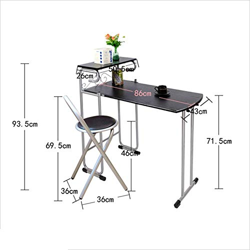 Dinette Stehtisch Klappbar 1 Tisch 2 Stühle Ohne Installation tragbares Picknick-Set (Color : White)