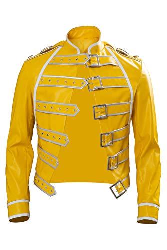 Rock Star Freddie Cosplay Disfraz de los 80s Rock Band Steampunk Wembley Concert Leather Jacket Amarillo