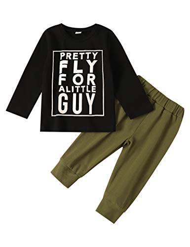 Toddler Baby Boy Clothes Pretty Fly for A Little Guy T Shirt Sweatshirt Camouflage Pants 2pcs Outfit Sets