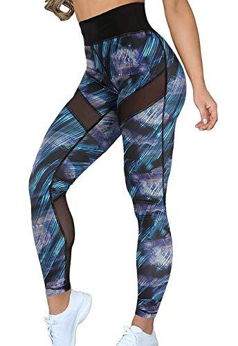 FITTOO Pantalones Deportivos Mujer Yoga Leggings de Alta Cintura Elásticos Transpirables para Running Fitness #4 Azul Small