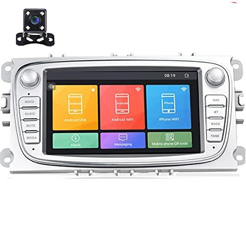 Android 9.0 Autoradio 7' auto stereo per Unità principale Navigazione GPS WIFI Bluetooth Ricevitore FM Dual USB per Ford Focus Mondeo C-MAX S-MAX Galaxy II Kuga con telecamera posteriore (Argento)