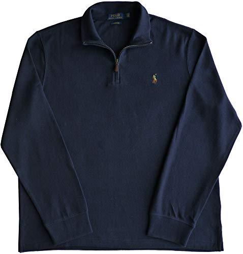 Ralph Lauren Maglione da uomo a mezza zip, blu navy con logo colorato Blu XXL