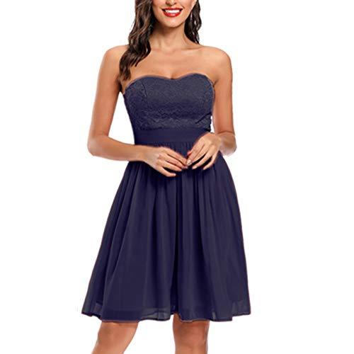 IFOUNDYOU Mädchen 50er Jahre Audrey Retro bedrucktes Cocktailkleid ärmelloses trägerloses Kleid Sexy Retro-Kleid Vintage Rockabilly Swing Dress Rückenfreier Ausschnitt