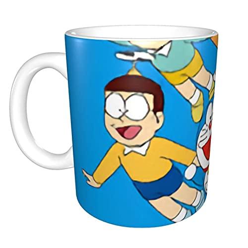 Doraemon - Tazas de cerámica para té de café y leche de la mañana, el mejor regalo para bebidas por la mañana, bodas, cumpleaños, día del padre (panda) sin cuchara y plato