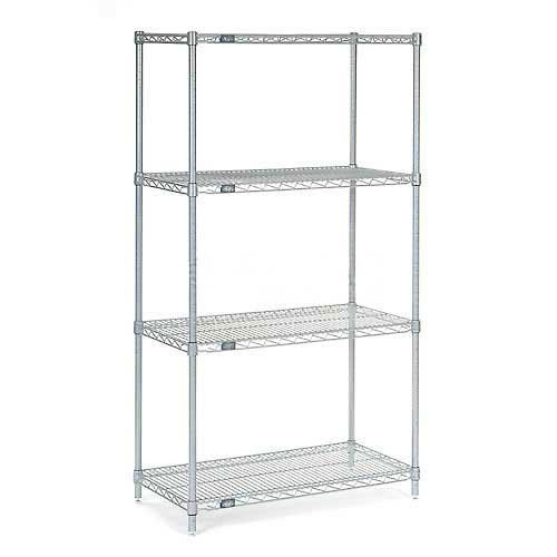 """Nexel Adjustable Wire Shelving Unit, 4 Tier, NSF Listed Commercial Storage Rack, 18"""" x 30"""" x 63"""", Silver Epoxy"""