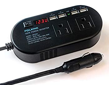 FOLKMA 150W Power Inverter for Car DC 12V to 110V AC Converter with 6.8A 4 USB Car Charger