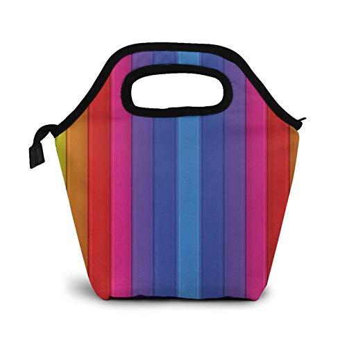 Bolsa Térmica Comida Bolsas De Almuerzo para Mujeres Hombres Niñas Niños Bolsa Isotérmica De Almuerzo Azulejos de bandas verticales de arco iris