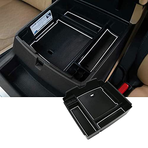 SKTU Compatible with 2022 Kia Carnival KA4 MPV Car Center Console Organizer Insert ABS Black Materials Tray Armrest Box Glove Secondary Storage Box with Coin and USB Hole (White)