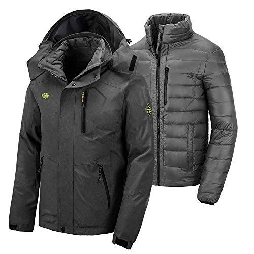 Wantdo Men's Waterproof Down Jacket Padded Ski Jacket Heated Parka Grey S