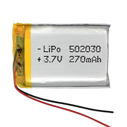 Batería 502030 LiPo 3.7V 270mAh 0.999Wh 1S 5C Liter Energy Battery para Electrónica Recargable teléfono portátil vídeo mp3 mp4 luz led GPS - No Apta para Radio Control 32x20x5mm (3.7V 270mAh 502030)