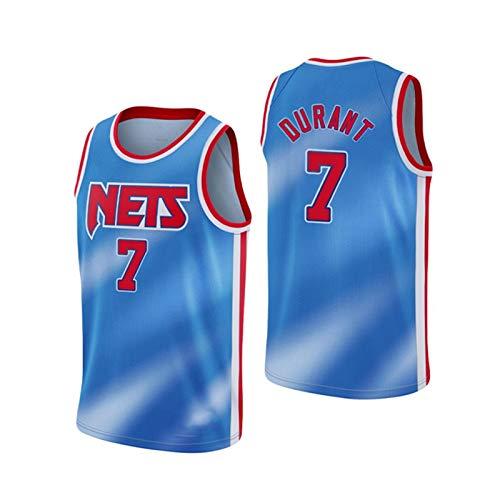 JIMING 2021 Redes de Hombres No. 7 Camiseta, Camiseta del fanático de Baloncesto, Camisa de Chaleco de Cuello en V Transpirable sin Mangas Casual, Blue-S
