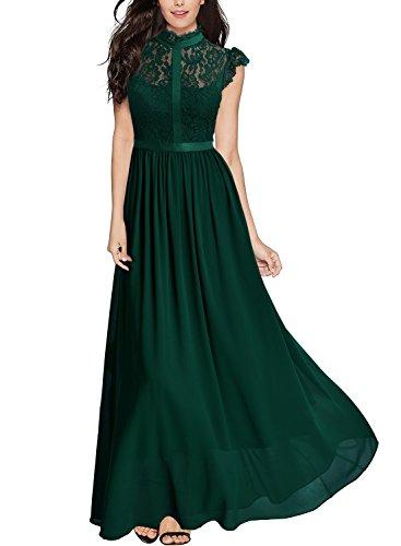 MIUSOL Damen Elegant Spitzen Abendkleid Brautjungfer Cocktailkleid Chiffon Faltenrock Langes Kleid Gruen M