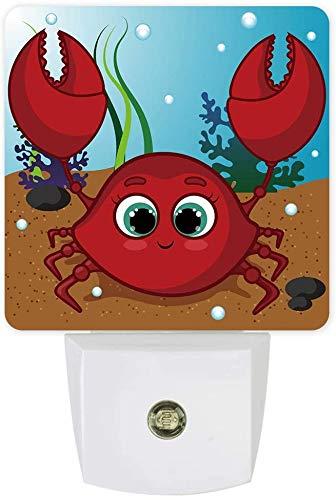 Cartoon Crab 2 Pack Luces nocturnas para niños Plug in Wall LED Lámpara de crepuscular al amanecer Sensor, Divertido D Jirafa con gafas de sol Luz nocturna animal para baño Nursery Dormitorio