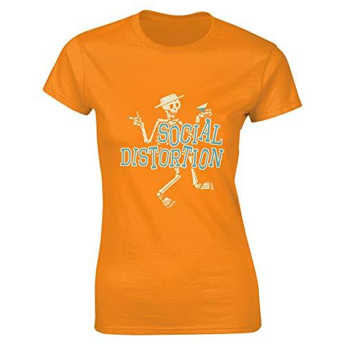 Damen Social Distortion Logo Bekleidung T-Shirt Kurzarm Orange L Tee T Shirt Rundhalsausschnitt Sommer Tshirt Für Frauen