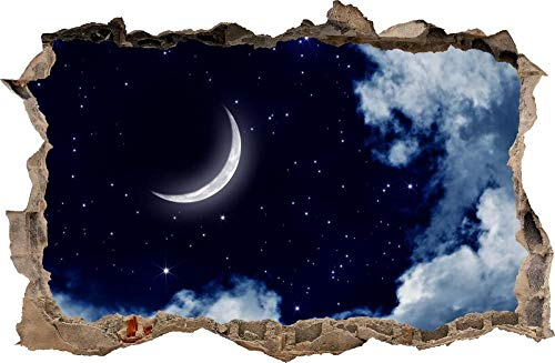 Pegatinas de pared Agujero de la etiqueta de la pared en la pared etiqueta de la noche de la luna arte de la etiqueta del vinilo mural decorativo Póster Arte 3D Mural 50x70cm