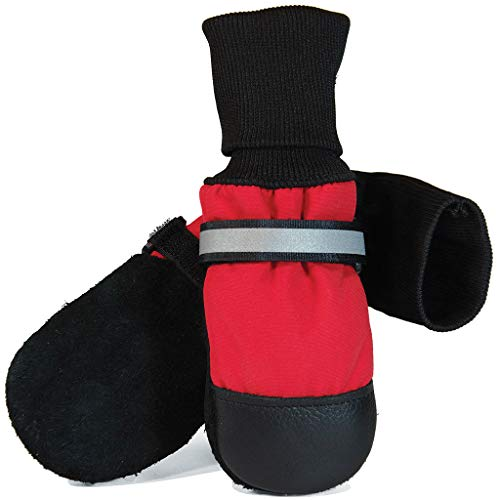 Muttluks Original Fleece-Lined Dog Boots – Warm, Cozy Socks for Dogs, Puppies – Stretchy, Adjustable Pet Booties – Leather Soles, Reflective Straps – 4 Pack – Red, Small