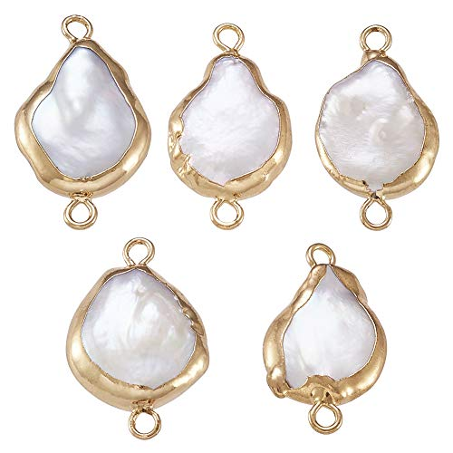 Fashewelry 10Pcs Natural Pearl Pendant Connectors Dangle Drop Keshi Pearl Charm Links with Gold Edge Wrapped 20-26x11.5-12mm for Jewelry Making Hole: 2mm