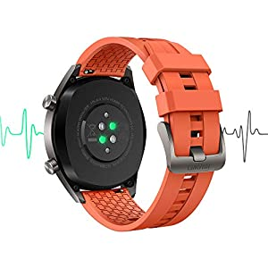 SUNG-LL Huawei Watch GT 2019 Bluetooth SmartWatch,Ultra-Thin Longer Lasting Battery Life, Waterproof, Compatible with iPhone and Android -Titanium Grey Stainless Steel (Orange Fluoroelastomer Band)