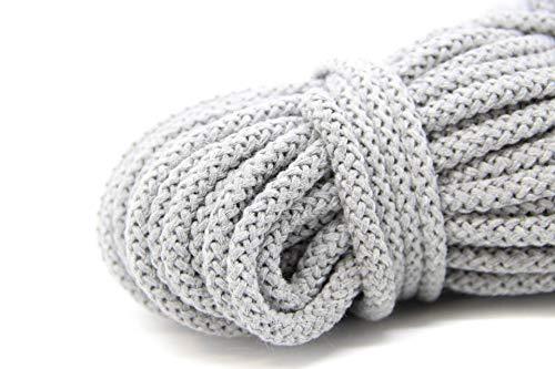 NTS Nähtechnik 50m Baumwollkordel / 8mm breites Seil aus Baumwolle mit Polyester Kern/Deko Schnur (grau, 8)