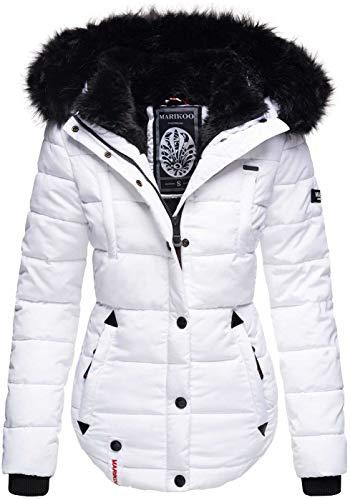 Marikoo warme Damen Winter Jacke Winterjacke Steppjacke gefüttert Kunstfell B618 [B618-Lotus-Weiss-Gr.S]
