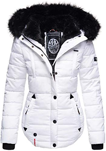 Marikoo warme Damen Winter Jacke Winterjacke Steppjacke gefüttert Kunstfell B618 [B618-Lotus-Weiss-Gr.M]