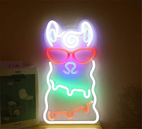 Ulalaza Letrero de luz de neón LED Alpaca Luces nocturnas operado por USB Letrero Decorativo de marquesina Bar Pub Store Club Garage Home Party Decor