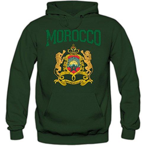 Shirt Happenz Marokko Wappen Premiumhoodie | Marokko | Königreich Marokko | Rabat | Arabisch | Herren-Kapuzenpullover, Farbe:Dunkelgrün;Größe:XXL
