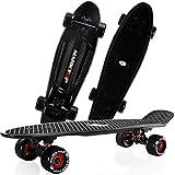 LDDLDG Skateboard Enfant Planches à roulettes for Les débutants Mini Cruiser Rétro Planche à roulettes for Enfants Garçons Filles Jeunes débutants (Color : Black)