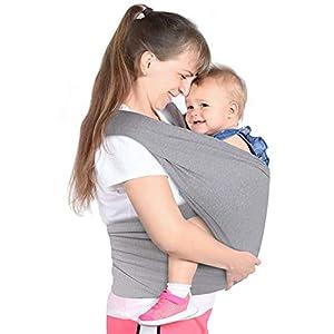 Lictin Fular Portabebés- Fular Portabebés Elástico Portador de Bebé Elástico Pañuelo Unisex Ajustable Portabebes Hasta 16KG (Gris)