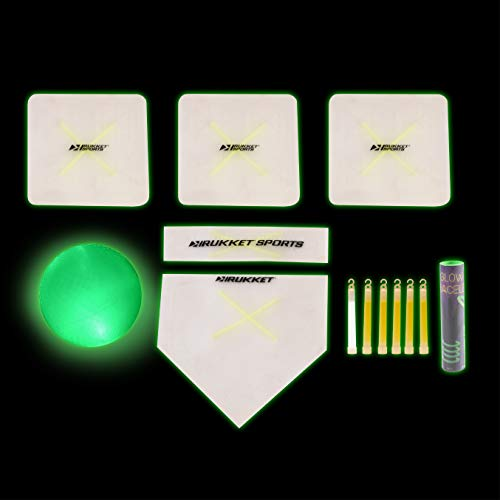 Rukket Kickball Set with Bases | Glow in The Dark Rubber Throw Down Plates and Kick Ball | Perfect for Kids and Adults | Playground and Backyard Game | Includes Air Pump and Foul Line Cones