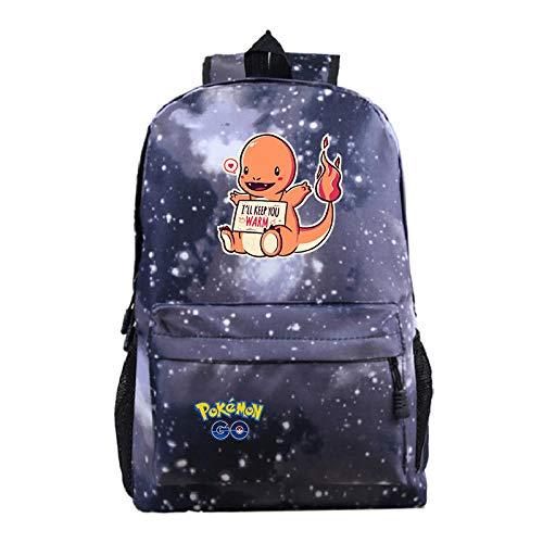 -Mochila P-o-k-e-m-o-n Mochila Escolar para Estudiantes Bolsa de Deportes al Aire Libre Pokemon-Patrón de Cielo Estrellado Gris 3_Talla única