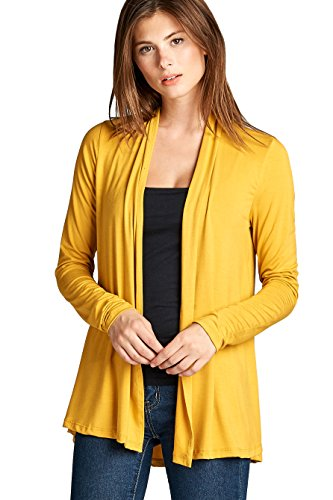 Women's Lightweight Open Front Soft Bamboo Long Sleeve Cardigan -Made in USA (Large, Mustard)