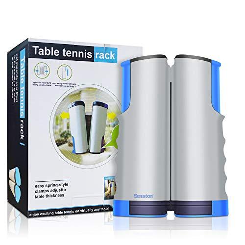 Senston Einziehbares Tischtennisnetz, Tragbarer Ping-Pong-Netzersatz, Ping Pong Zubehör Net für Jede Tabelle(grau)