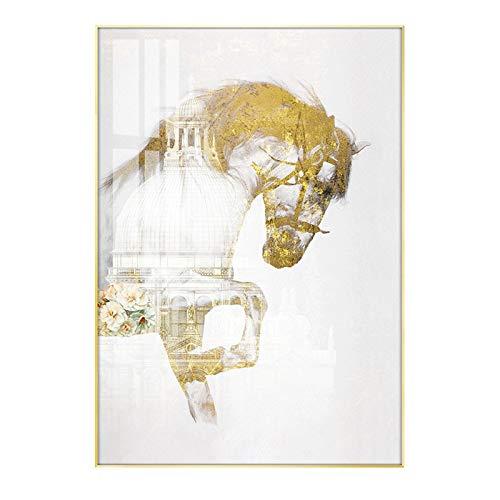 Fotomural Vinilo para Pared, Montado En La Pared Arte Blanco Caballo Cristal Porcelana Pintura,Versión Vertical Oficina Mural,Sala Decoración Pintura,Entrada Imágenes Colgantes,Con marco