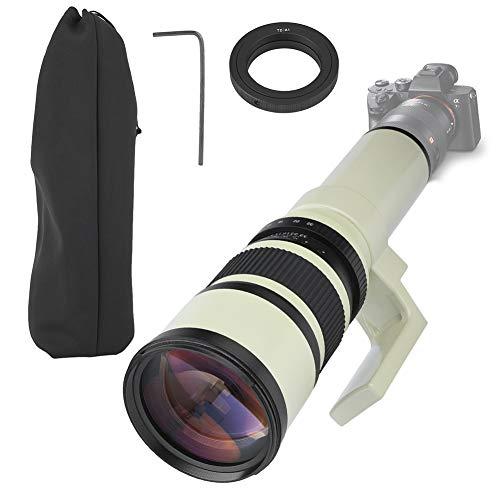Wandisy Regalo De Abril Teleobjetivo, Profesional 500 mm F6.3 Fijo para cámaras réflex Digitales SLR Blanco(T2-AI para Nikon)