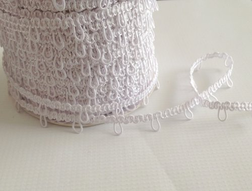 Nakpunar 12' White Elastic Button Loops - 1' Space - for Bridal Gowns, Trails