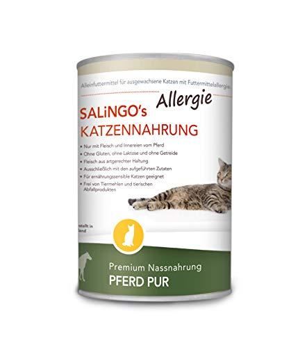 SALiNGO Katzenfutter nass hypoallergen Pferd Pur 6x400g | hoher Fleischanteil | zuckerfrei | getreidefrei | für allergische Katzen