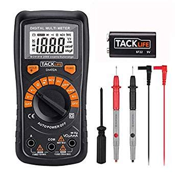 Automatisch Digital Multimeter Tacklife DM02A, mit Berührungslose Spannungserkennung, LCD-Display, Spannungs-, Strom-, Widerstands- und Durchgangsprüfung, für Zuhause, Schule, Labor