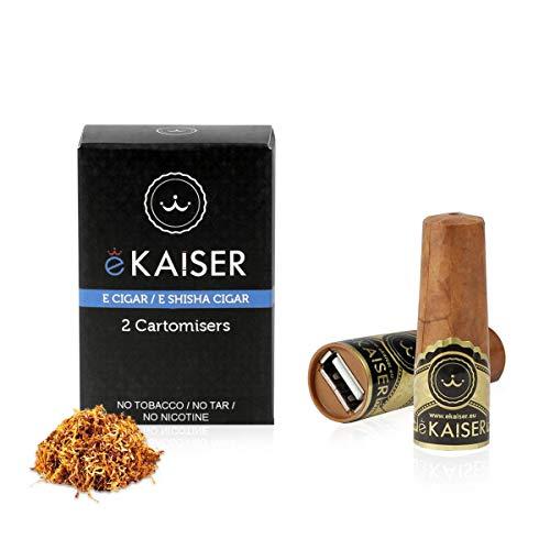 eKaiser Elektronische Zigarre 2er Pack Cartomizer Gold Tobacco Flavour E Zigarre E Shisha Einweg, 30/70 VG/PG Premium-Geschmacksrichtungen 700 ZÜGE für eKaiser aufladbare Zigarre Cloud Chaser Vape