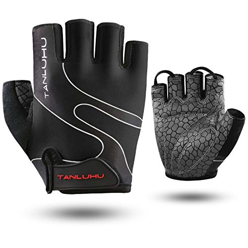 Tanluhu Cycling Gloves Bike Gloves Biking Gloves Half Finger Bicycle Gloves - Anti-Slip Shock-Absorbing Padded Breathable Road Mountain Bike Glove for Men Women