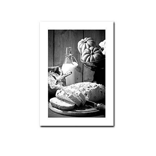 FRTTCYO póster Café, Vino, Pan, Cartel de Cocina, Negro, Blanco, Bebida, Comida, Lienzo, impresión, Arte de la Pared, Pintura, decoración del Restaurante, Imagen, comedor-50x70cmx1 sin Marco