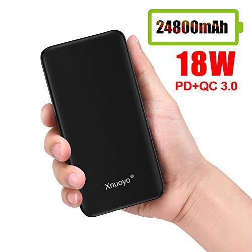 Xnuoyo Powerbank, tragbares Ladegerät 24800 mAh, PD 18W QC 3.0 Powerbank mit hoher Kapazität, externer Akku mit Dual-USB-Ausgang, schnellladendes Handy-Ladegerät für Smartphones und Tablets (Schwarz)