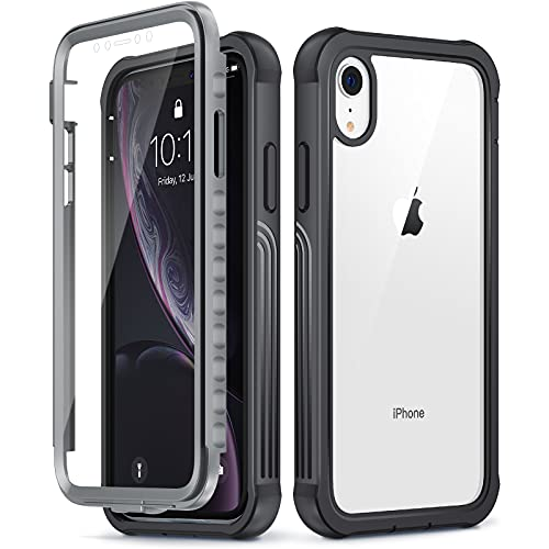VEGO iPhone XR Full Body Case with Built-in Screen Protector, Clear Military Grade Heavy Duty Protection Cover 360 Degree Shockproof Case Compatible with iPhone XR 6.1 Inch - Black