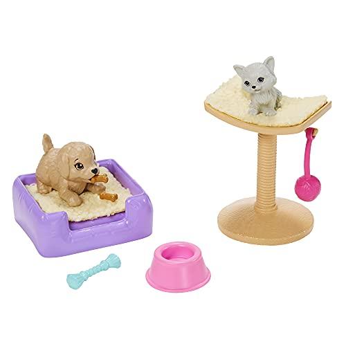 Barbie GRG59 – Juego de accesorios 3 – Parque de juegos para perros y gatos, con árbol rascador y accesorios