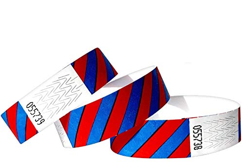 "500 pezzi - 19 mm 3/4"" Tyvek Wristbands, Tyvek Braccialetti, Tyvek Bracciali, Festival Braccialetti, Night-Club Braccialetti (Blue-Red, 500 Pack)"
